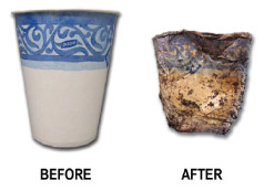 This is a plastic-coated paper cup before and after incubating in an industrial compost pile for 180 days. The plastic inhibits the paper from breaking down and also releases plastic particles into the compost. Eco-Cycle is urging cities across the U.S. to adopt stricter composting guidelines to avoid making contaminated compost with plastic-coated products.