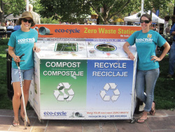 Liz Swanson, Zero Waste Events Coordinator, and Leigh Cushing, Community Campaigns Coordinator, at Boulder's 2011 Fall Festival